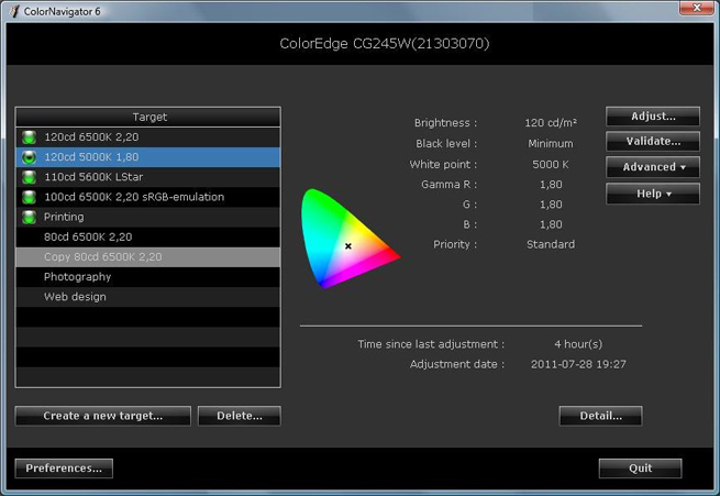 "ColorNavigator step 1: ""Create new target"""